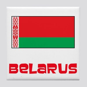 Belarus Flag Retro Red Design Tile Coaster